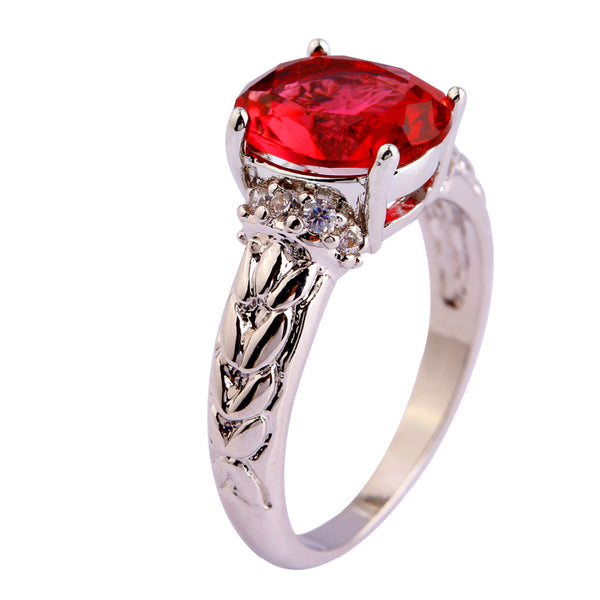 Red Cubic Zirconia Silver Ring For Women side
