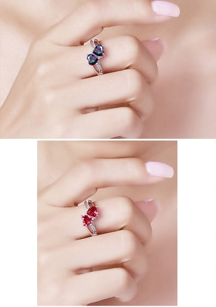 Two Hearts Design Red Cubic Zirconia in hand
