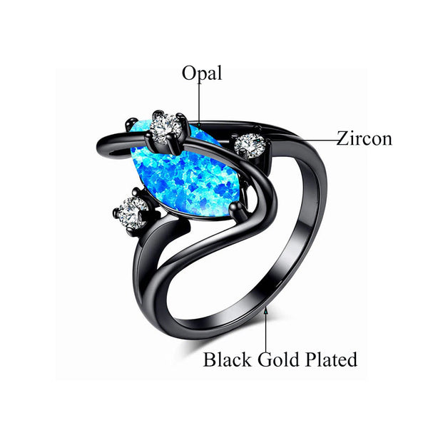 White Fire Opal Ring Black Details