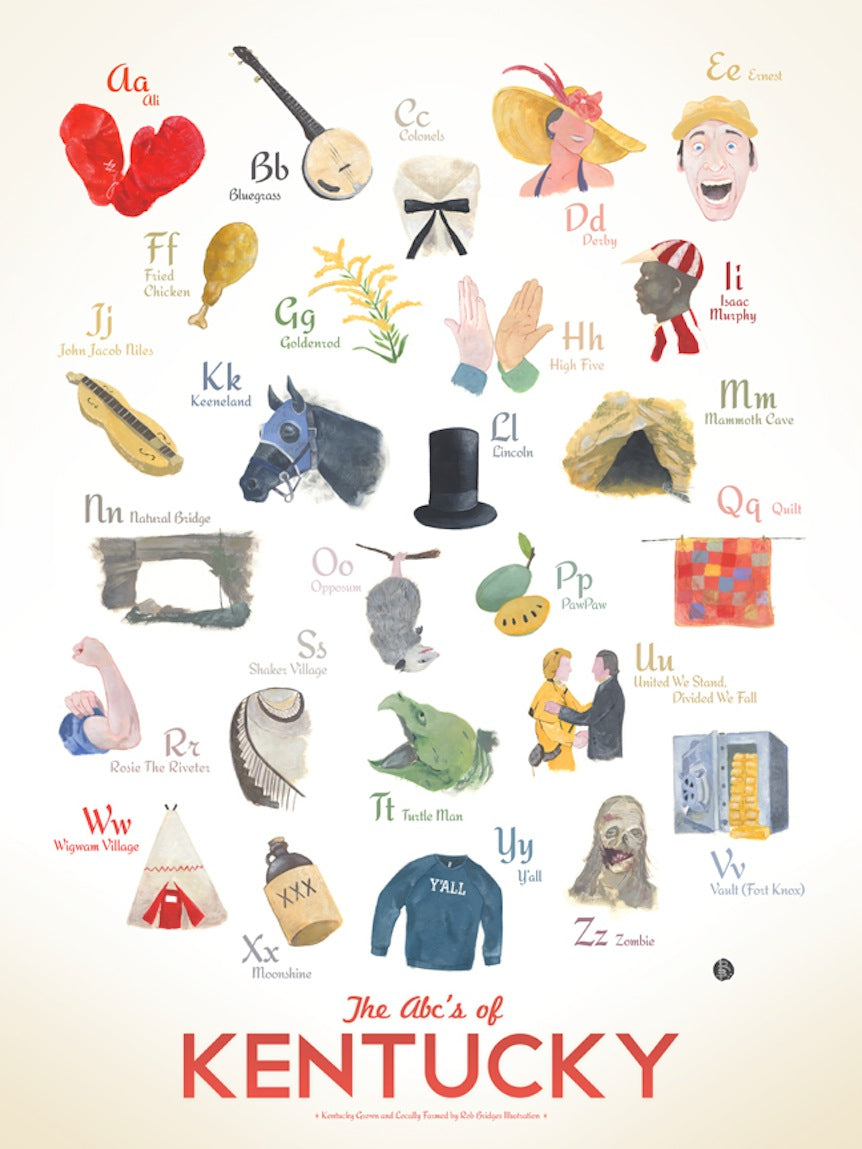 ABC's Of Kentucky Print By Robert Bridges