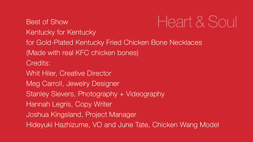Kentucky Fried Chicken Bone Necklaces Wins Best Of Show At The AFF Lexington ADDY Awards!