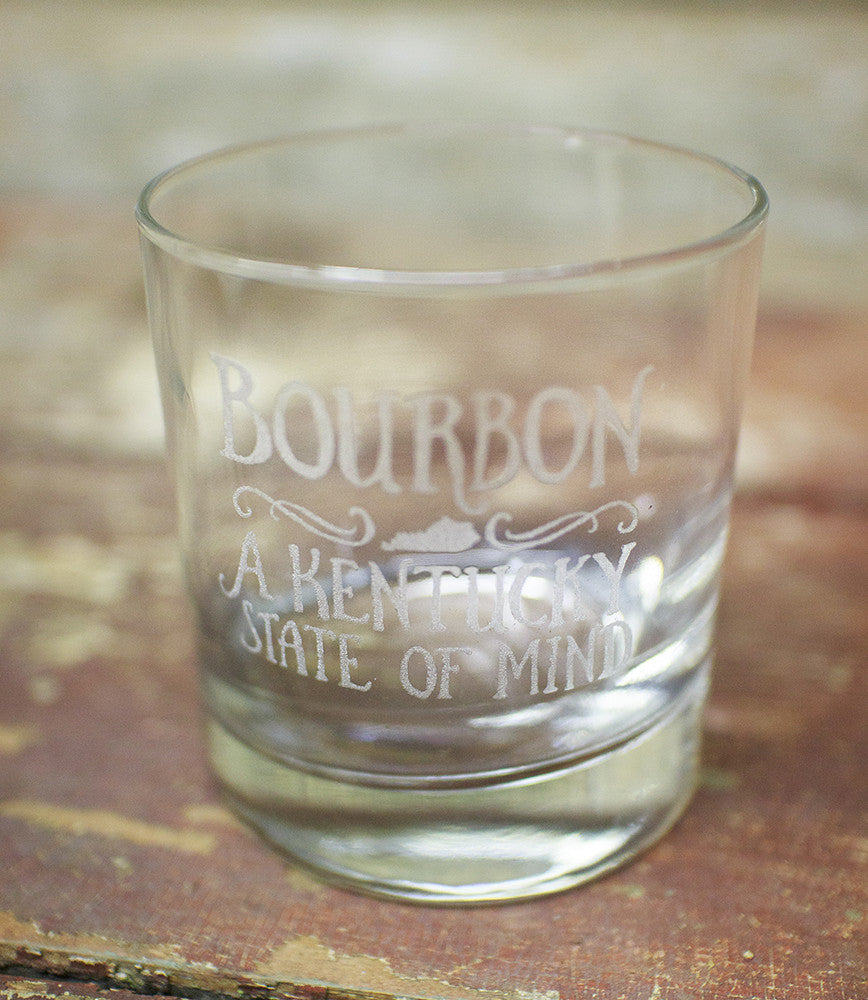 """Bourbon: A Kentucky State Of Mind"" Glasses by Cricket Press"