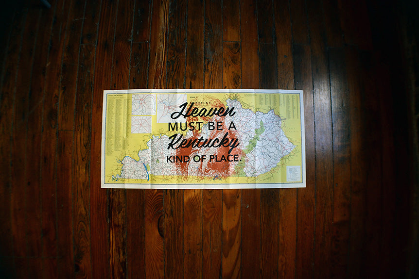 """Heaven Must Be A Kentucky Kind Of Place"" Vintage Map Prints"