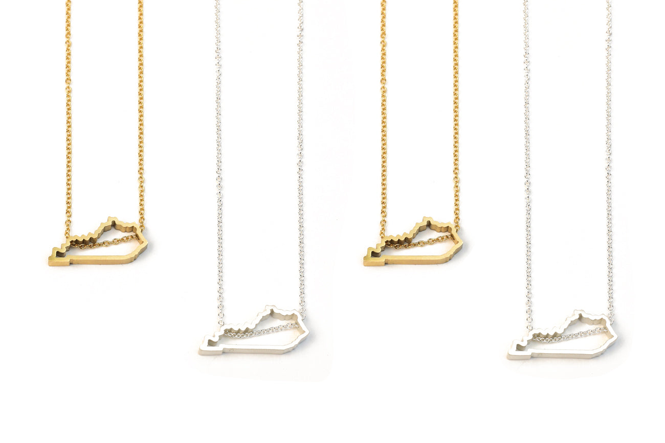Silver & Gold Kentucky Necklaces By Meg C