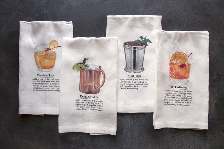 Bourbon Cocktail Tea Towels Are Back!