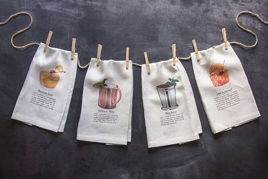 Bourbon Cocktail Tea Towels
