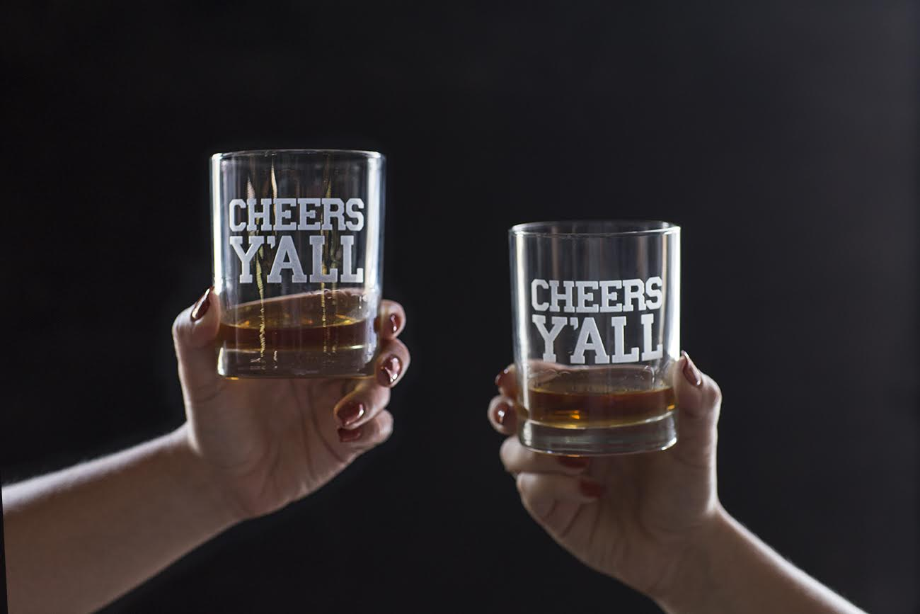 """Cheers Y'all"" Bourbon Glasses"