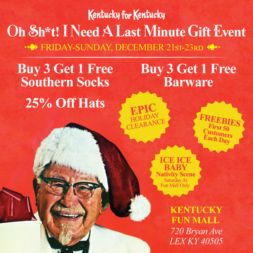 Image of Colonel Sanders in a Santa hat with sale specials in text around him including 25 percent off hats