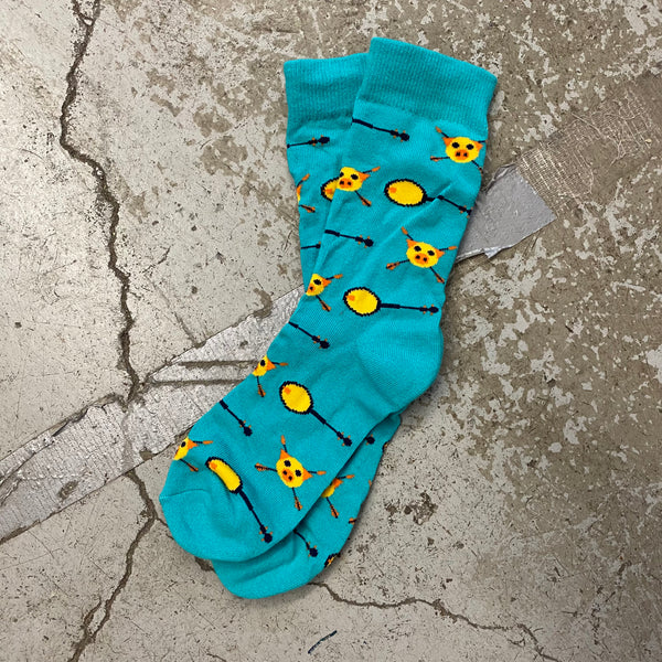Teal socks with Yellow Pigs and Banjos Patterned