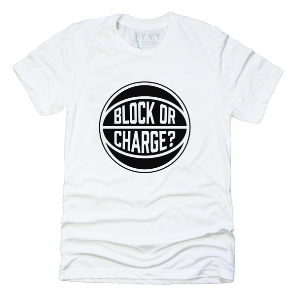 White tee shirt with black Block or Charge? logo
