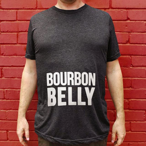 Black t-shirt with Bourbon Belly text across the belly
