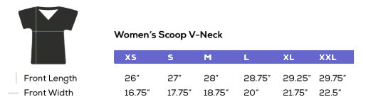 Ladies Cut V Neck Size Chart