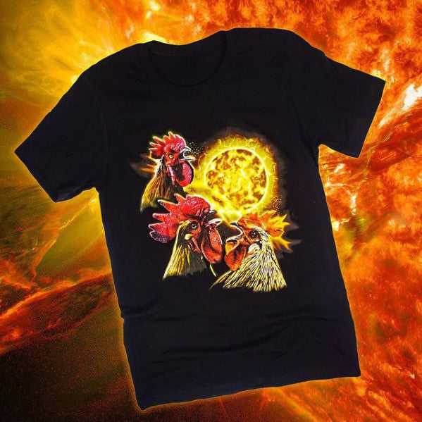 Black t-shirt with three roosters howling at a moon