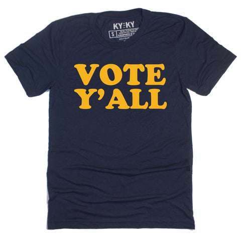 Navy blue tee with yellow test that reads Vote Y'all
