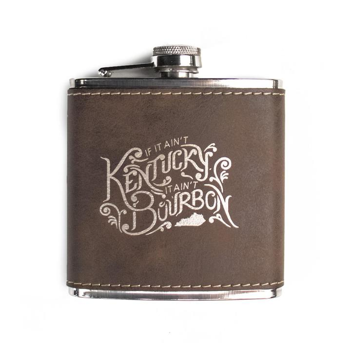 If It Ain't Kentucky, It Ain't Bourbon Leather Flask-Glass-KY for KY Store