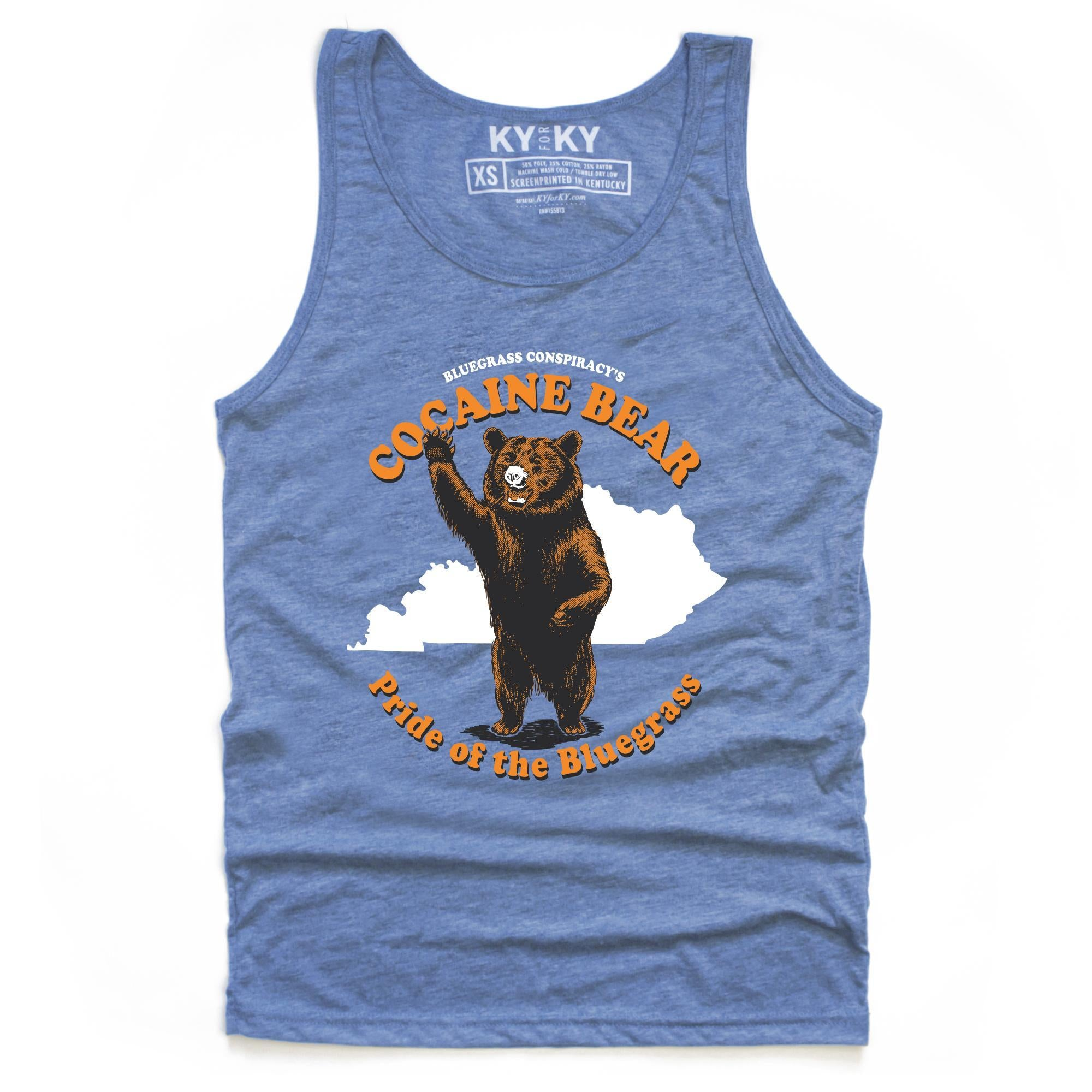 Cocaine Bear Tank Top (Blue)-Tank Top-KY for KY Store