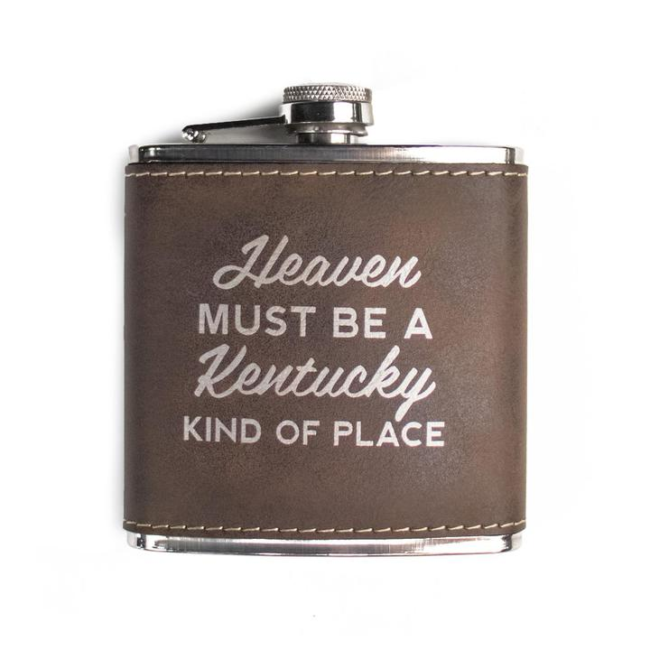Heaven Must Be a Kentucky Kind of Place Leather Flask-Glass-KY for KY Store