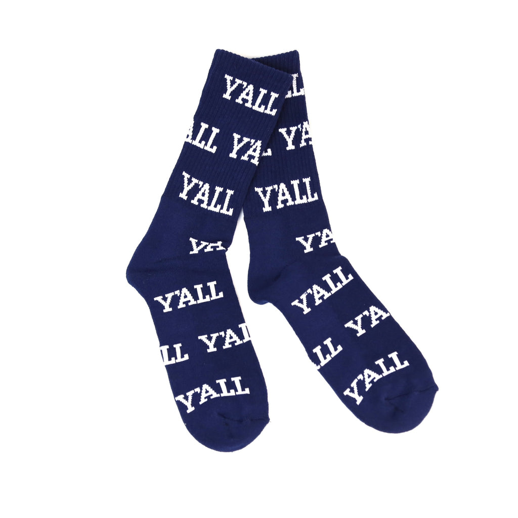 Y'ALL Socks (Navy and White)-Socks-KY for KY Store