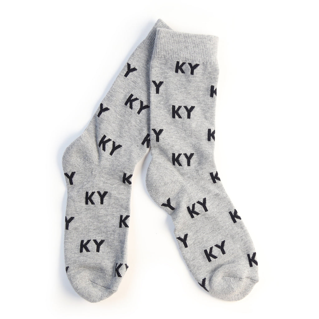 KY Letter Socks (Grey and Black)-Socks-KY for KY Store