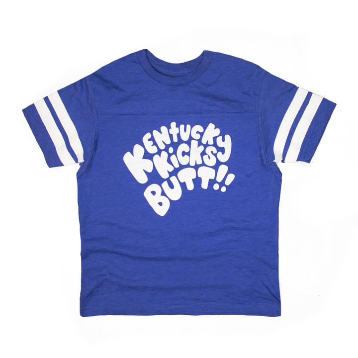 Kentucky Kicks Butt Kids Tee (Blue)-T-Shirt-KY for KY Store
