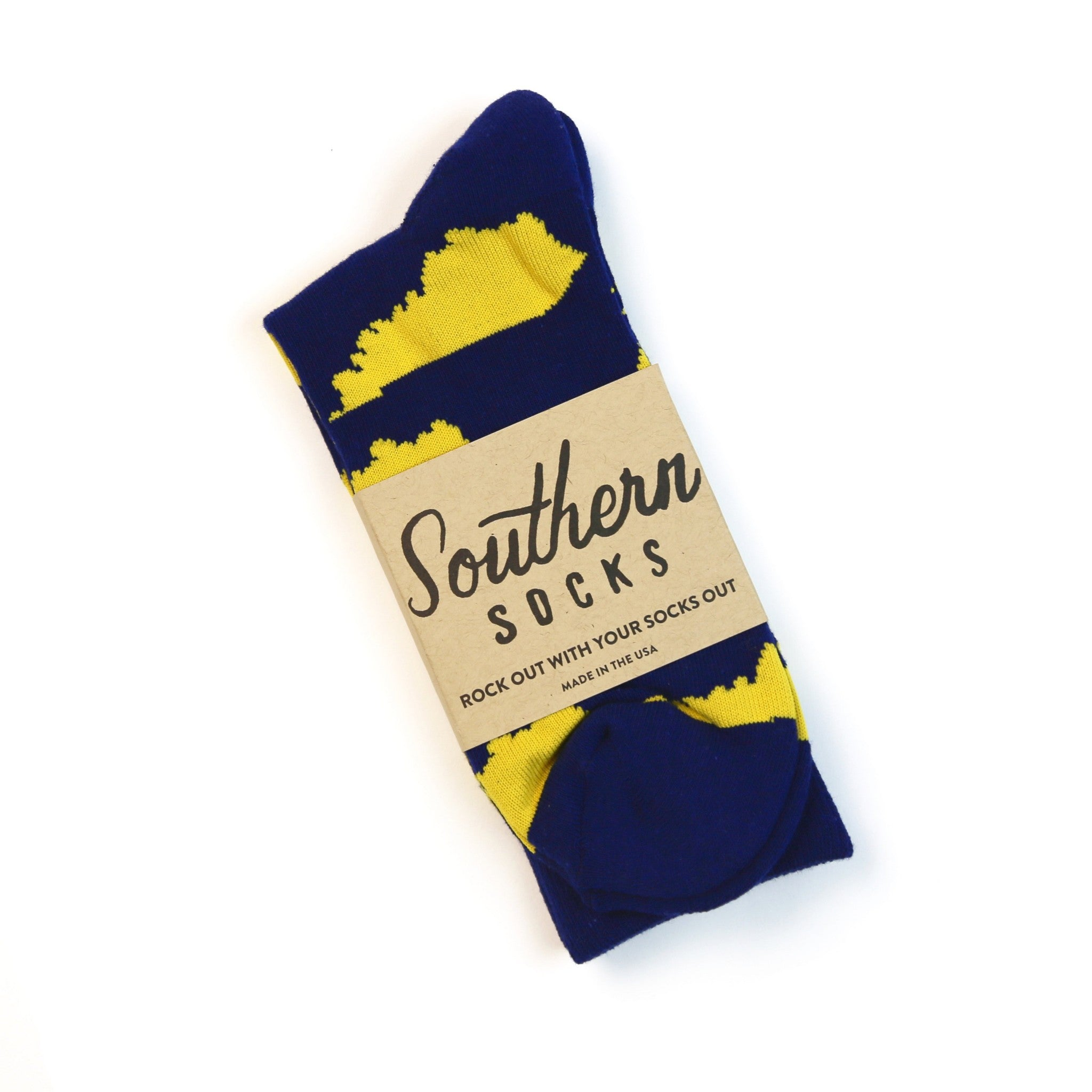 KY Shape Socks (Navy and Yellow)-Socks-KY for KY Store
