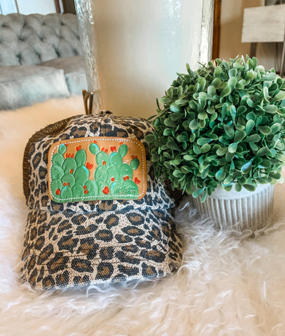 McIntire Saddlery Leopard & Red Blooms Cap