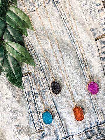 Long Oval Druzy Necklace