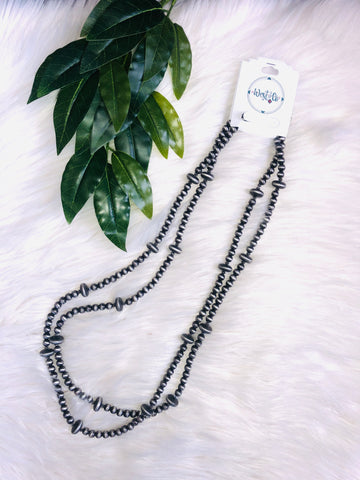 Faux Navajo Double Pearl Necklace