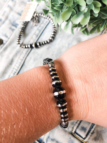 Silver + Black Stretch Bracelet