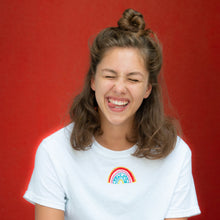 Load image into Gallery viewer, t-shirt with rainbow embroidered design
