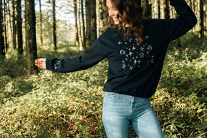Embroidered Christmas night sky sweater