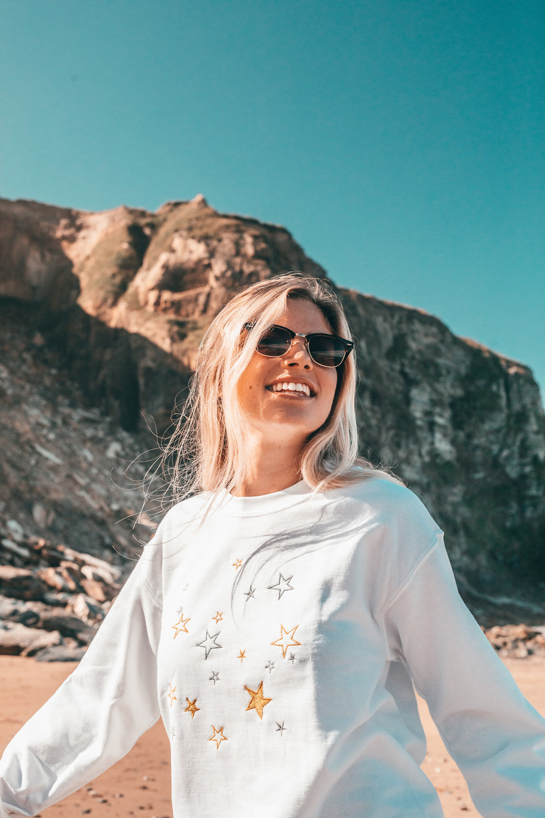 Metallic Star embroidered sweater