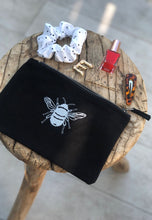 Load image into Gallery viewer, Bee embroidered accessory pouch