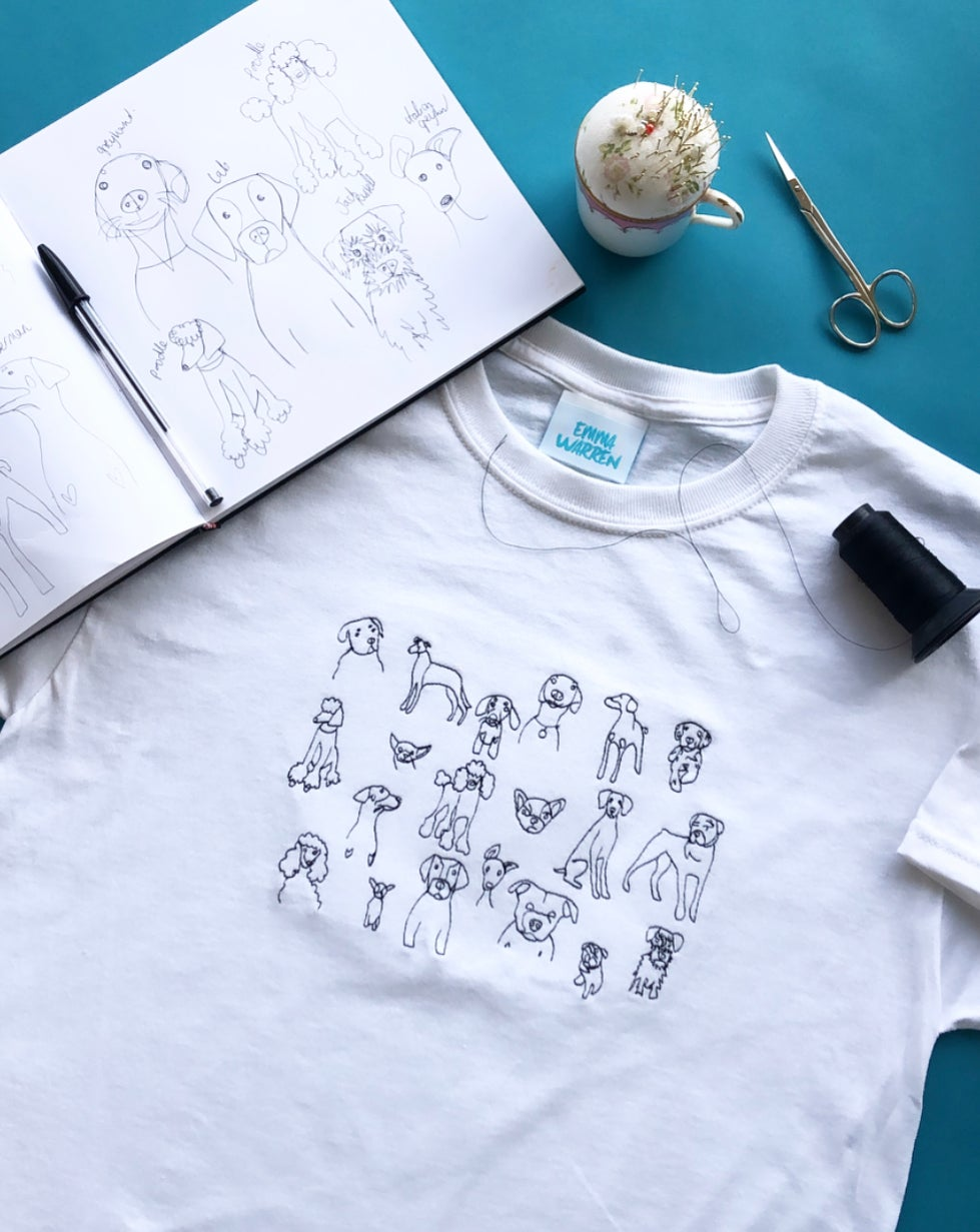 t-shirt with doodle dog embroidery