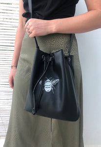 Embroidered bee bucket bag