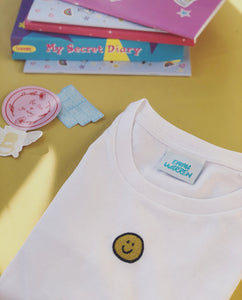 Super cute embroidered smiley organic t-shirt