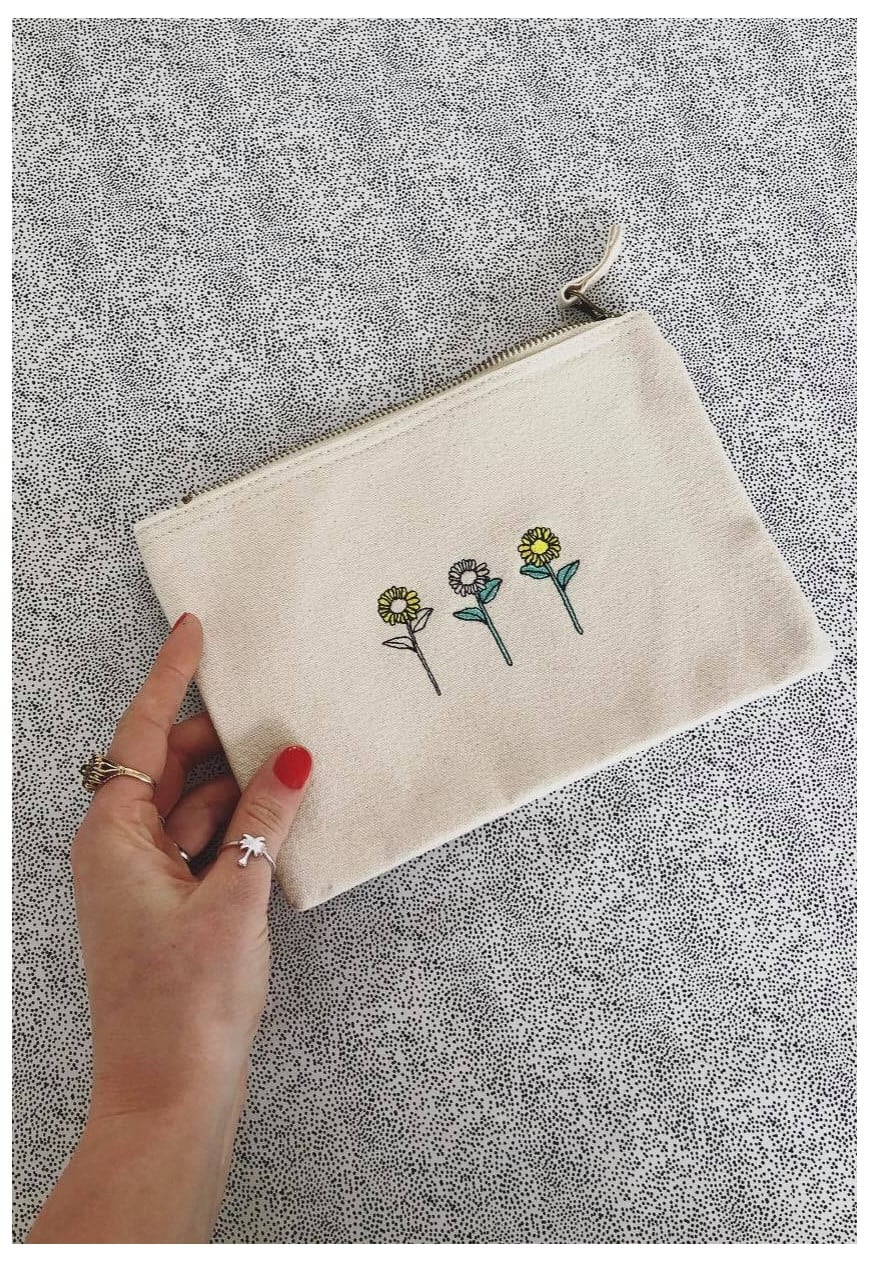 make up bag in natural with sunflower embroidery