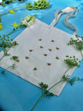 Load image into Gallery viewer, Lots of bees embroidered tote bag