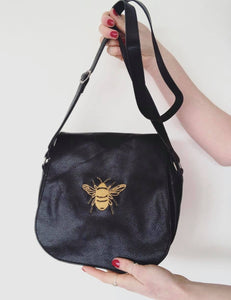 Embroidered bee saddle bag
