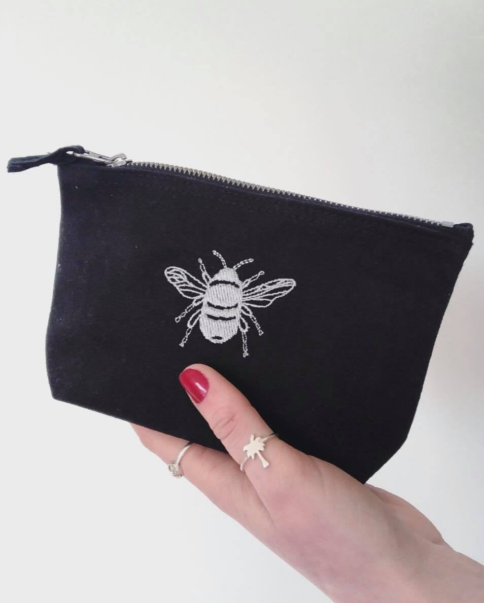 Bee embroidered accessory purse / make up bag
