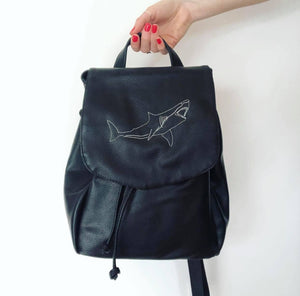 Embroidered shark backpack