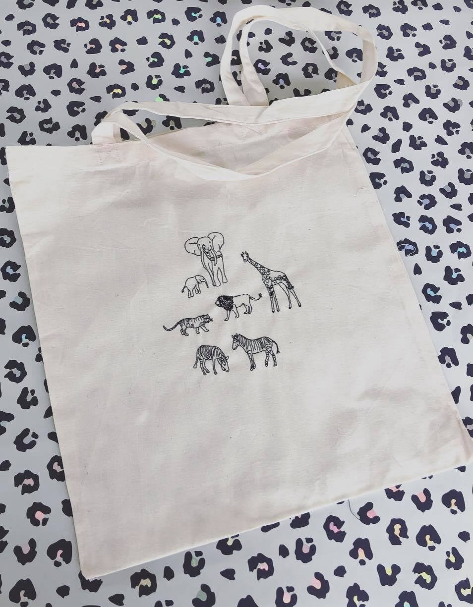 Lots of animals embroidered tote bag