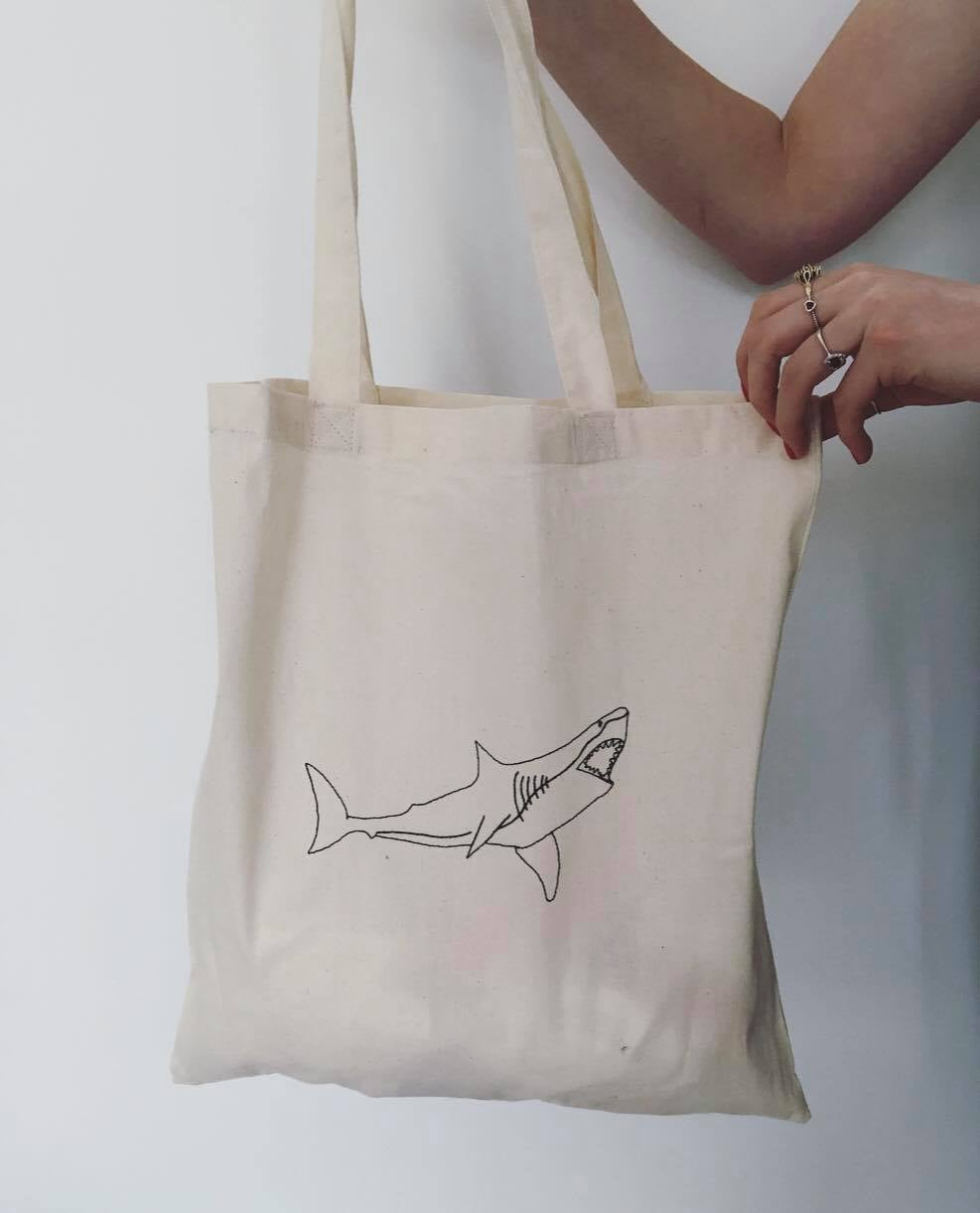 Shark embroidered tote bag