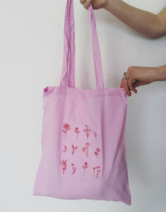 Lots of flowers embroidered tote bag
