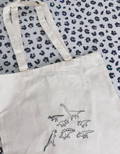 Load image into Gallery viewer, Lots of dinosaurs embroidered tote bag
