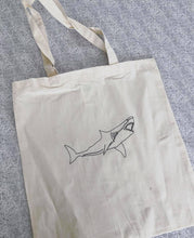 Load image into Gallery viewer, Shark embroidered tote bag