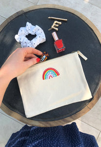 rainbow embroidered accessory pouch