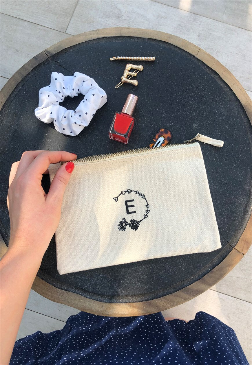 make up bag in natural with personalised embroidery