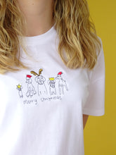 Load image into Gallery viewer, organic embroidered xmas dog tee