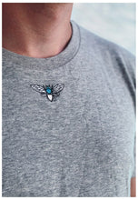 Load image into Gallery viewer, organic t-shirt in grey with mini moth embroidery